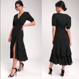 NWT Lulus Made My Day Black Button Midi Dress
